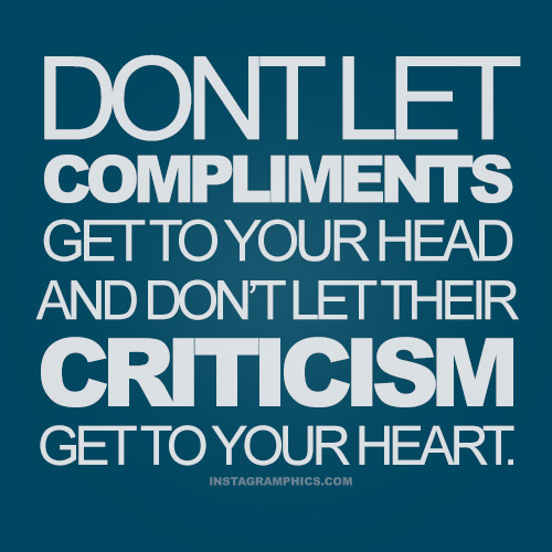 How can you handle criticism